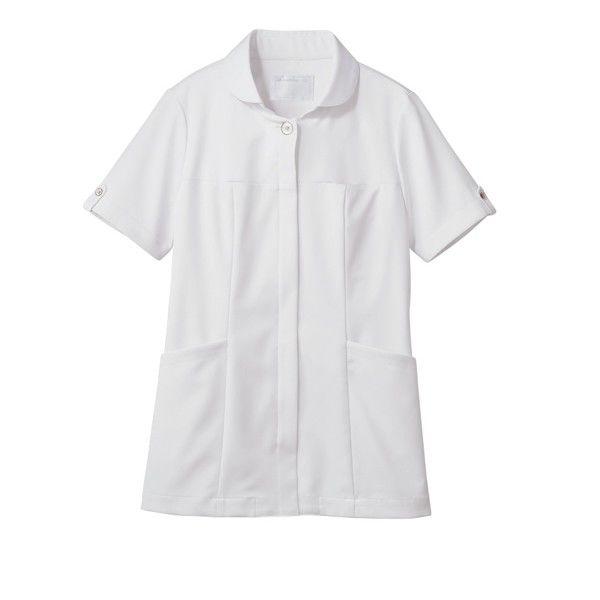 住商モンブラン ナースジャケット 医療白衣 レディス 半袖 白/ブロンズ LL 73-2222 (直送品)