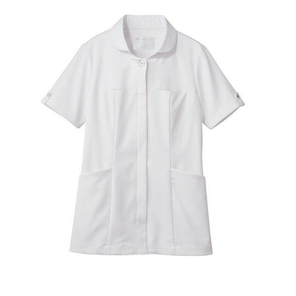 住商モンブラン ナースジャケット 医療白衣 レディス 半袖 白/シルバー M 73-2226 (直送品)