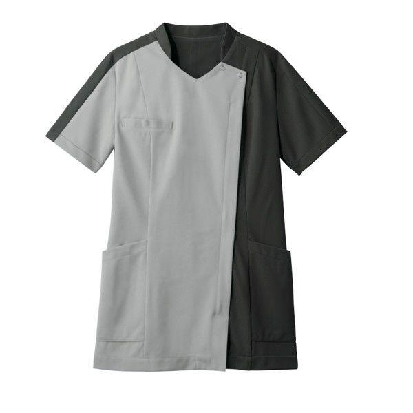 住商モンブラン レディスジャケット 医療白衣 半袖 シルバーグレイ/チャコールグレイ M 73-2231 (直送品)