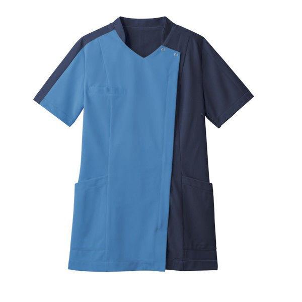 住商モンブラン レディスジャケット 医療白衣 半袖 コバルトブルー/ダークブルー L 73-2233 (直送品)
