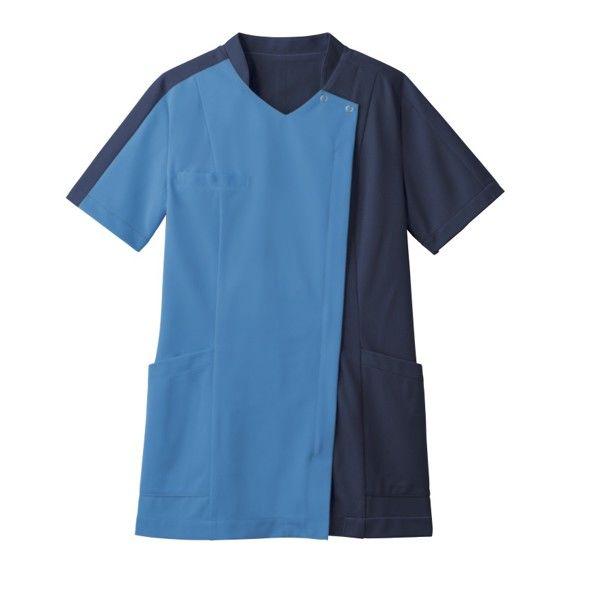 住商モンブラン レディスジャケット 医療白衣 半袖 コバルトブルー/ダークブルー LL 73-2233 (直送品)