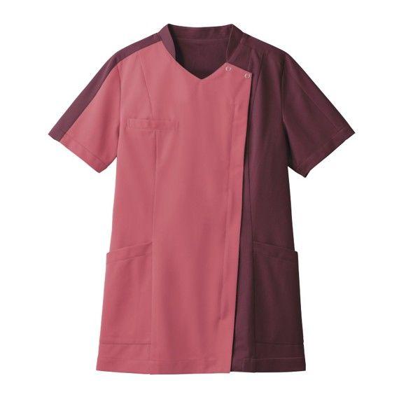 住商モンブラン レディスジャケット 医療白衣 半袖 ローズレッド/ワイン LL 73-2236 (直送品)