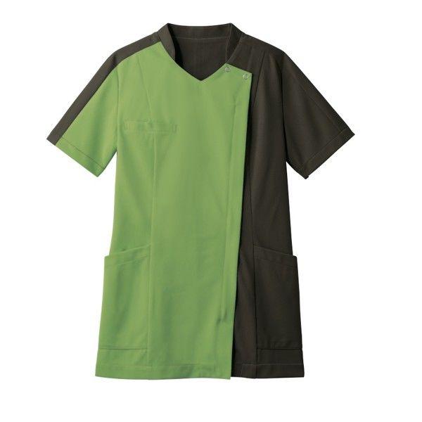 住商モンブラン レディスジャケット 医療白衣 半袖 リーフグリーン/オリーブ LL 73-2238 (直送品)