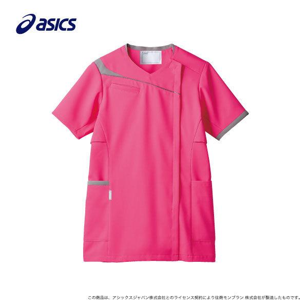 住商モンブラン レディスジャケット 医療白衣 半袖 ホットピンク×グレー L CHM354-4240 (直送品)