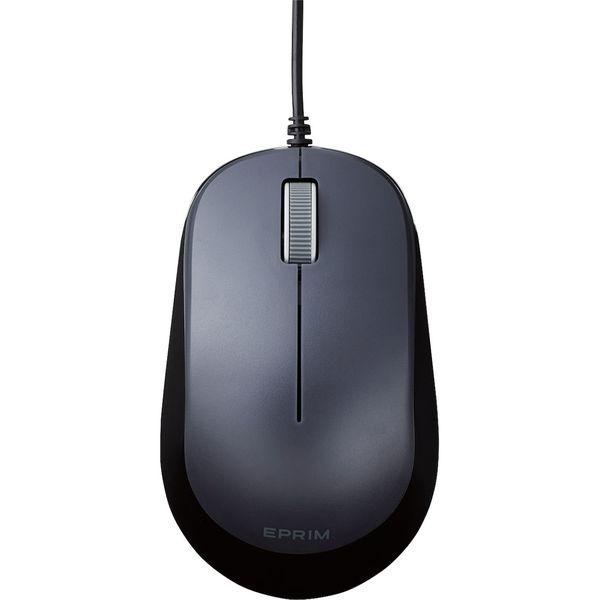 マウス 有線 3ボタン ブルーLED 左右対称 両利き EPRIM Chromebook 認定 ブラック M-Y8UBBK エレコム 1個