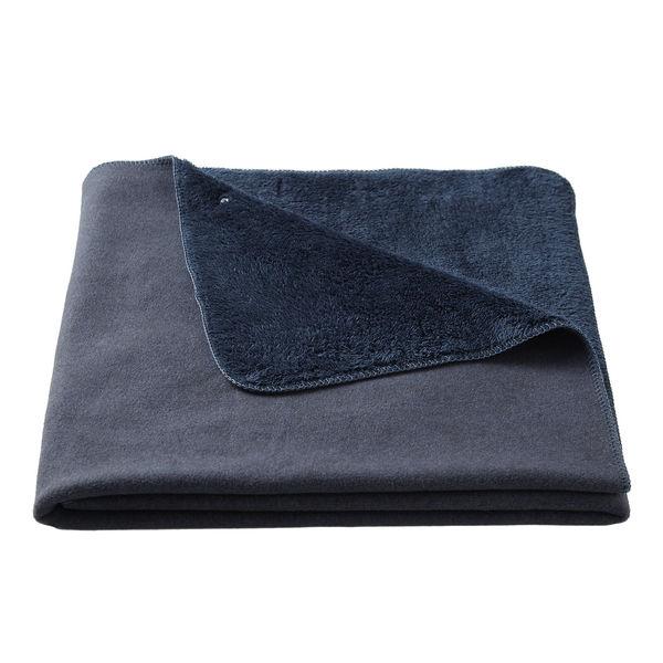 レーヨン混フリース羽織る毛布/杢ネイビー