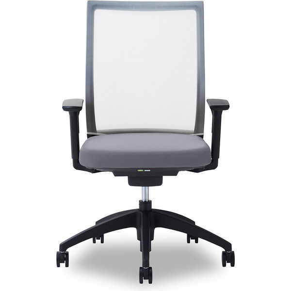 関家具 オフィスチェア Air01-ヘッド無/ハンガー無/背WH/肘可動/座GY グレイ 238309 1脚(直送品)
