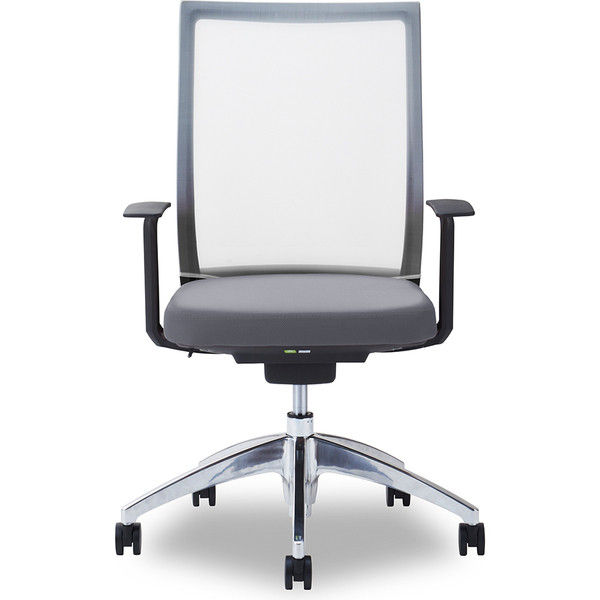 関家具 オフィスチェア Air01-ヘッド無/ハンガー無/背WH/肘固定/座GY グレイ 238333 1脚(直送品)