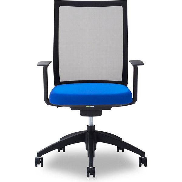 関家具 オフィスチェア Air01-ヘッド無/ハンガー無/背BK/肘固定/座BL ブルー 238368 1脚(直送品)