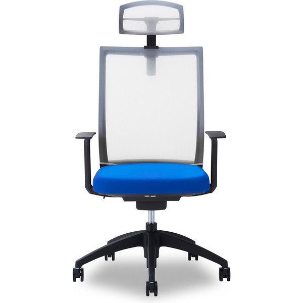 関家具 オフィスチェア Air01-ヘッドWH/ハンガー無/背WH/肘固定/座BL ブルー 238373 1脚(直送品)