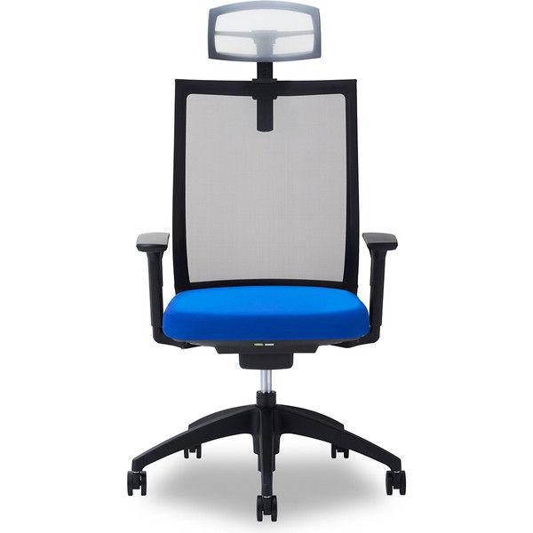 関家具 オフィスチェア Air01-ヘッドWH/ハンガー無/背BK/肘可動/座BL ブルー 238384 1脚(直送品)