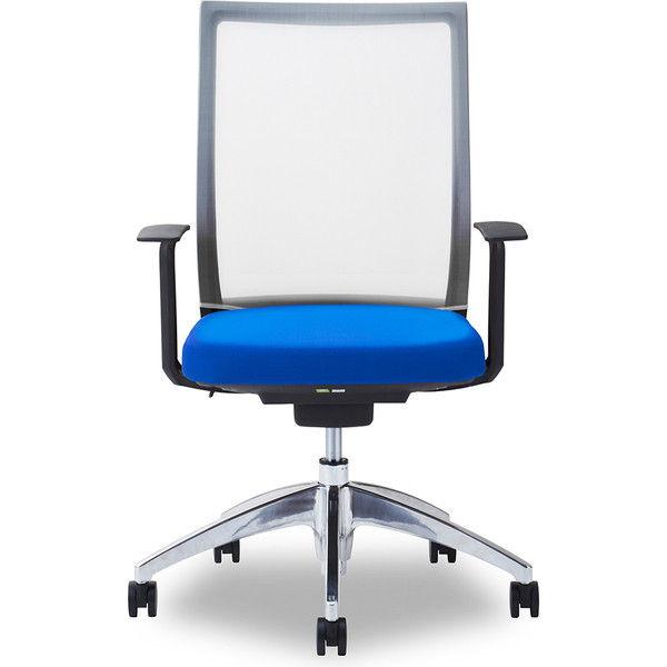 関家具 オフィスチェア Air01-ヘッド無/ハンガー無/背WH/肘固定/座BL ブルー 238405 1脚(直送品)