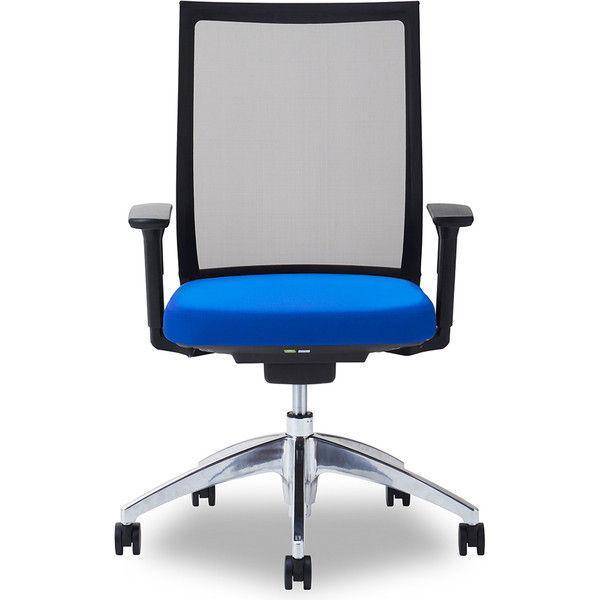 関家具 オフィスチェア Air01-ヘッド無/ハンガー無/背BK/肘可動/座BL ブルー 238416 1脚(直送品)
