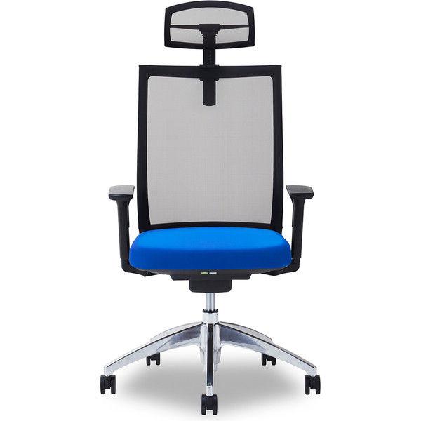 関家具 オフィスチェア Air01-ヘッドBK/ハンガー無/背BK/肘可動/座BL ブルー 238418 1脚(直送品)
