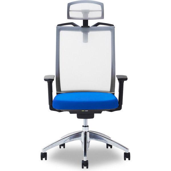 関家具 オフィスチェア Air01-ヘッドWH/ハンガー有/背WH/肘可動/座BL ブルー 238427 1脚(直送品)