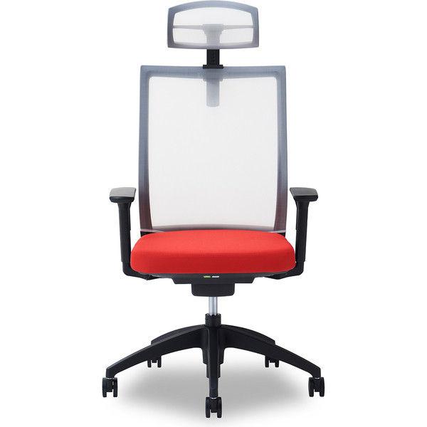 関家具 オフィスチェア Air01-ヘッドWH/ハンガー無/背WH/肘可動/座RD レッド 238457 1脚(直送品)