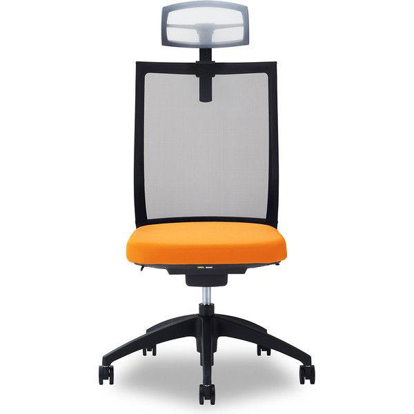 関家具 オフィスチェア Air01-ヘッドWH/ハンガー無/背BK/肘無/座OR オレンジ 238504 1脚(直送品)