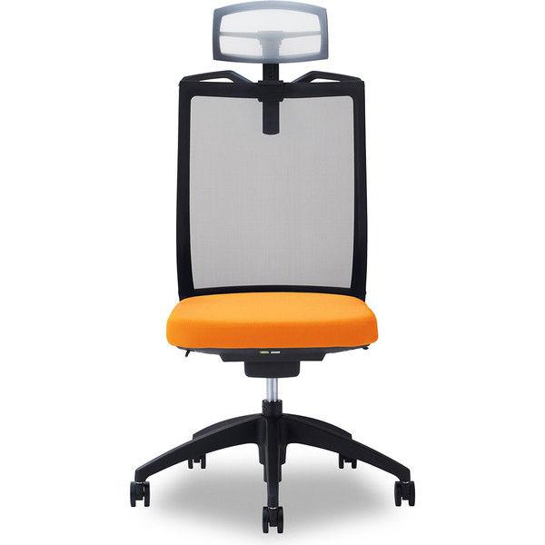 関家具 オフィスチェア Air01-ヘッドWH/ハンガー有/背BK/肘無/座OR オレンジ 238510 1脚(直送品)