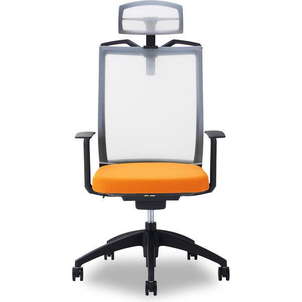 関家具 オフィスチェア Air01-ヘッドWH/ハンガー有/背WH/肘固定/座OR オレンジ 238523 1脚(直送品)