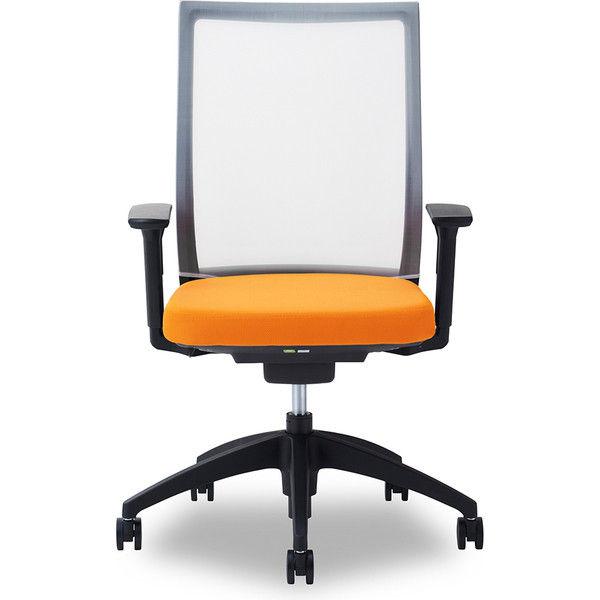 関家具 オフィスチェア Air01-ヘッド無/ハンガー無/背WH/肘可動/座OR オレンジ 238525 1脚(直送品)