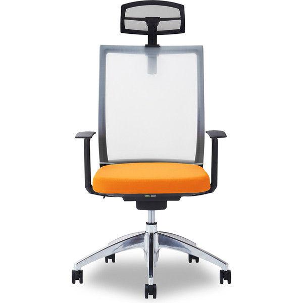 関家具 オフィスチェア Air01-ヘッドBK/ハンガー無/背WH/肘固定/座OR オレンジ 238551 1脚(直送品)