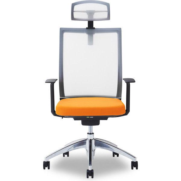 関家具 オフィスチェア Air01-ヘッドWH/ハンガー無/背WH/肘固定/座OR オレンジ 238553 1脚(直送品)
