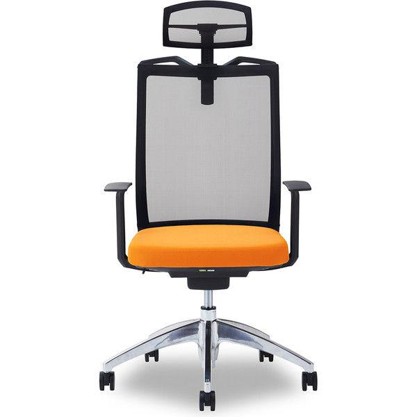 関家具 オフィスチェア Air01-ヘッドBK/ハンガー有/背BK/肘固定/座OR オレンジ 238556 1脚(直送品)