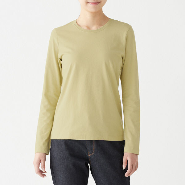 ed3011621b49d LOHACO - 【SALE】 無印良品 インド綿天竺編みクルーネック長袖Tシャツ ...