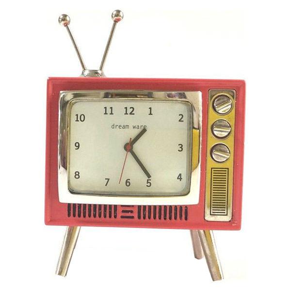 アンティーク調テレビ角型置き時計 レッド