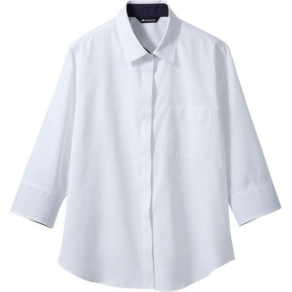 住商モンブラン MONTBLANC(モンブラン) シャツ レディス 7分袖 白/ネイビー 13号 BF2211-2(直送品)