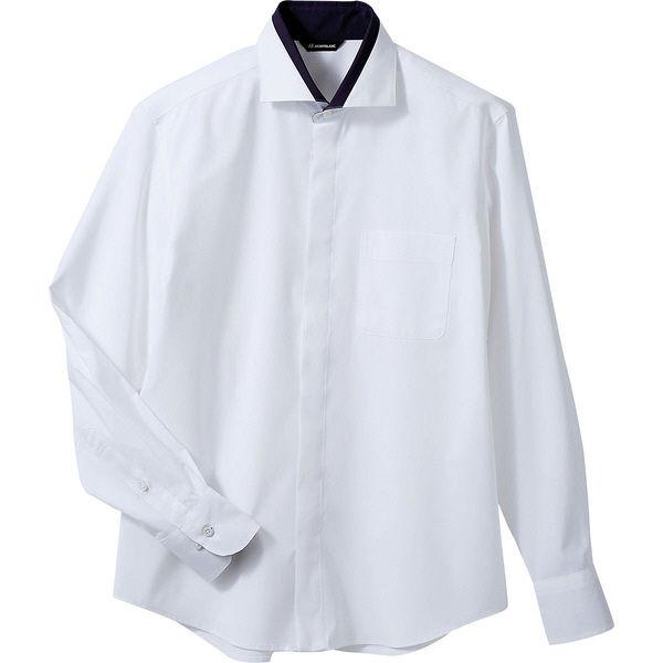 住商モンブラン MONTBLANC(モンブラン) シャツ 兼用 長袖 白/ネイビー LL BF2601-2(直送品)