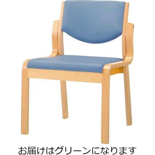 ライオン事務器 木製イスNo.630SNグリーン 49852(直送品)
