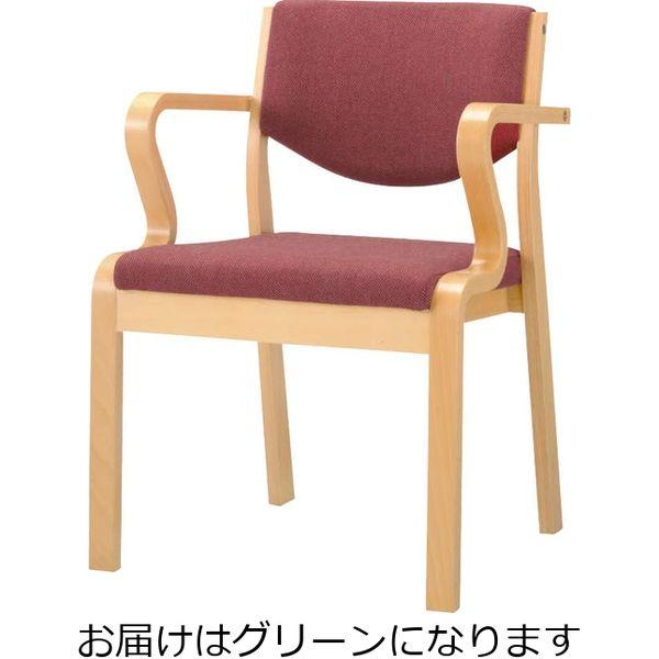 ライオン事務器 木製イスNo.631FGグリーン 49885(直送品)