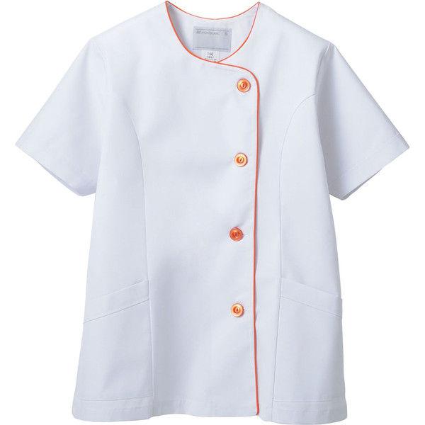 住商モンブラン MONTBLANC(モンブラン) 調理衣 レディス 半袖 白/オレンジ L 1-042(直送品)