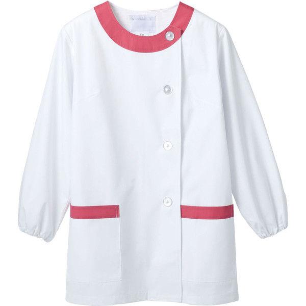 住商モンブラン MONTBLANC(モンブラン) 調理衣 レディス 長袖 白/ピンク 3L 1-093(直送品)