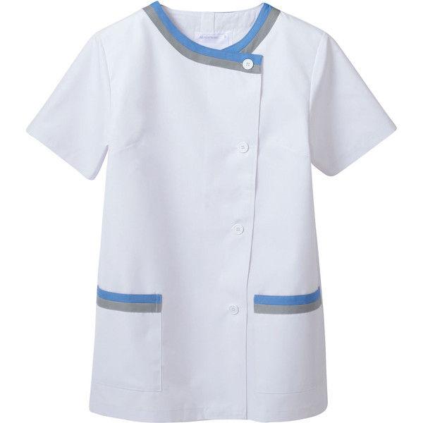 住商モンブラン MONTBLANC(モンブラン) 調理衣 レディス半袖 白/サックス/グレー L 1-162(直送品)