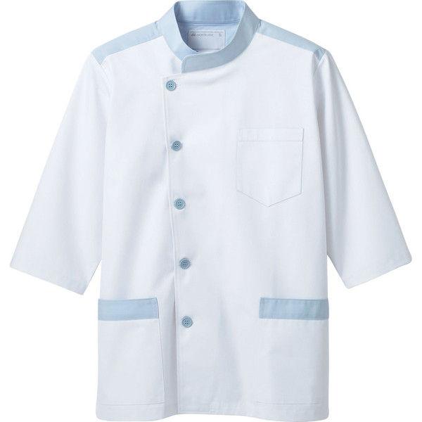 住商モンブラン MONTBLANC(モンブラン) 調理衣 兼用 7分袖 白/ブルー M 1-591(直送品)