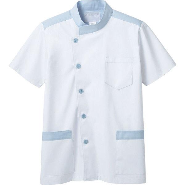 住商モンブラン MONTBLANC(モンブラン) 調理衣 兼用 半袖 白/ブルー L 1-592(直送品)