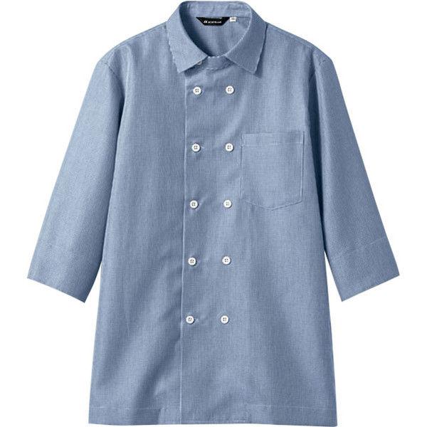 住商モンブラン MONTBLANC(モンブラン) シャツ 兼用 7分袖 ブルーチェック M WC2621-4(直送品)