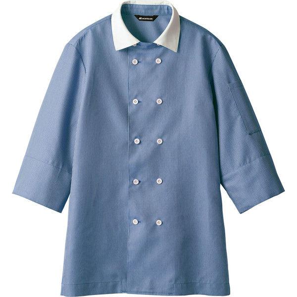 住商モンブラン MONTBLANC(モンブラン) シャツ 兼用7分袖 ブルーチェック/白 LL WC2631-4(直送品)