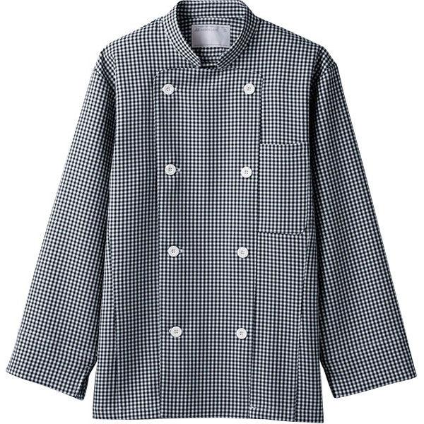 住商モンブラン MONTBLANC(モンブラン) コックコート 兼用 長袖 黒チェック S 6-491(直送品)