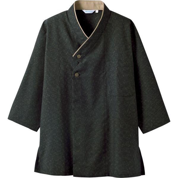 住商モンブラン MONTBLANC(モンブラン) 和風シャツ 兼用 7分袖 黒/ベージュ M 2-391(直送品)