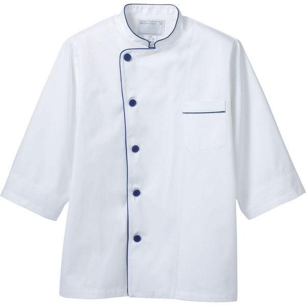 住商モンブラン MONTBLANC(モンブラン) コックコート兼用7分袖 白/ブルー袖ネット LL 6-511(直送品)