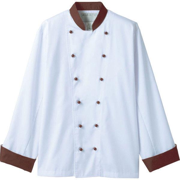 住商モンブラン MONTBLANC(モンブラン) コックコート 兼用 長袖 白/ブラウン L 6-729(直送品)