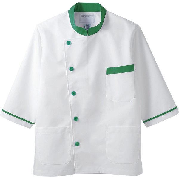 住商モンブラン MONTBLANC(モンブラン) 調理衣 兼用 7分袖 白/グリーン M 6-815(直送品)