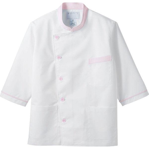 住商モンブラン MONTBLANC(モンブラン) 調理衣 兼用 7分袖 白/ピンク L 6-819(直送品)