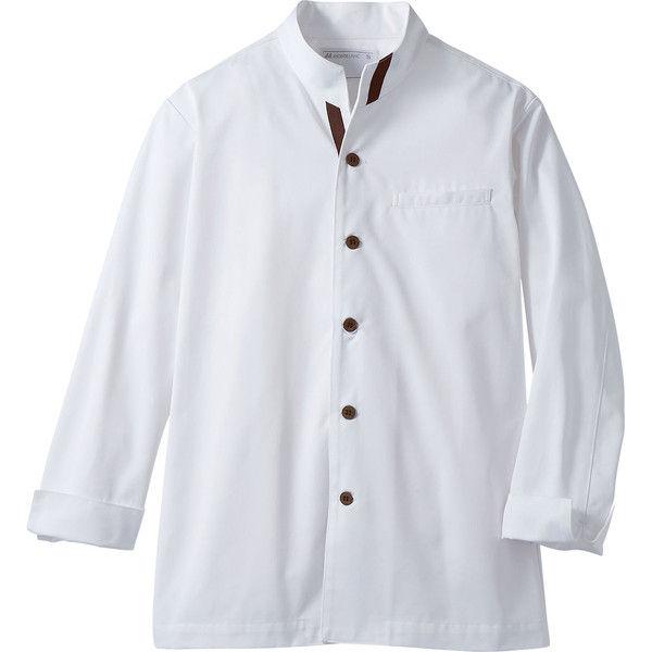 住商モンブラン MONTBLANC(モンブラン) コックジャケット兼用 長袖 白/ブラウン LL 6-981(直送品)