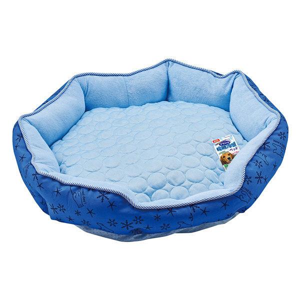 クマさんの接触冷感ベッド M ブルー