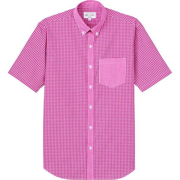 チトセ ボタンダウンシャツ(半袖)[男女兼用] EP8534_C-2レッドチェック_SS(取寄品)