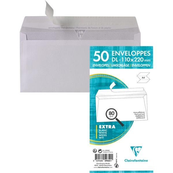 封筒 クレールフォンテーヌ テープ付封筒 A4三つ折りサイズ(DL) ホワイト 50枚パック 1セット(4パック) (直送品)